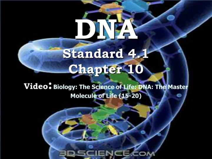 dna standard 4 1 chapter 10 video biology the science of life dna the master molecule of life 15 20 n.