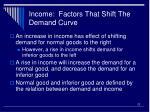 income factors that shift the demand curve