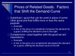 prices of related goods factors that shift the demand curve