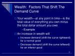wealth factors that shift the demand curve