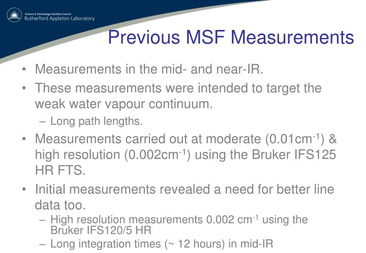 Previous msf measurements