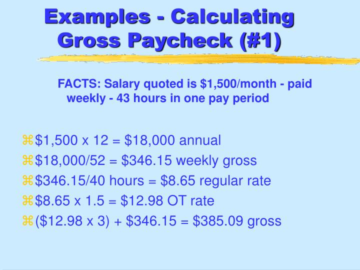 Examples - Calculating Gross Paycheck (#1)