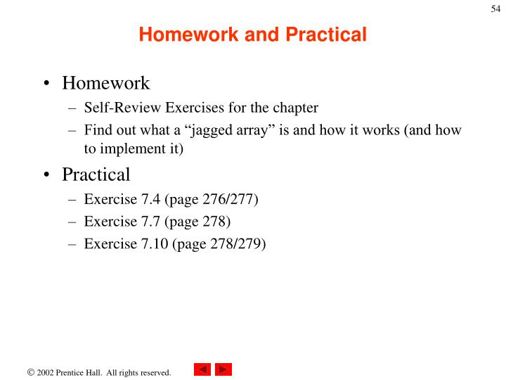 Homework and Practical