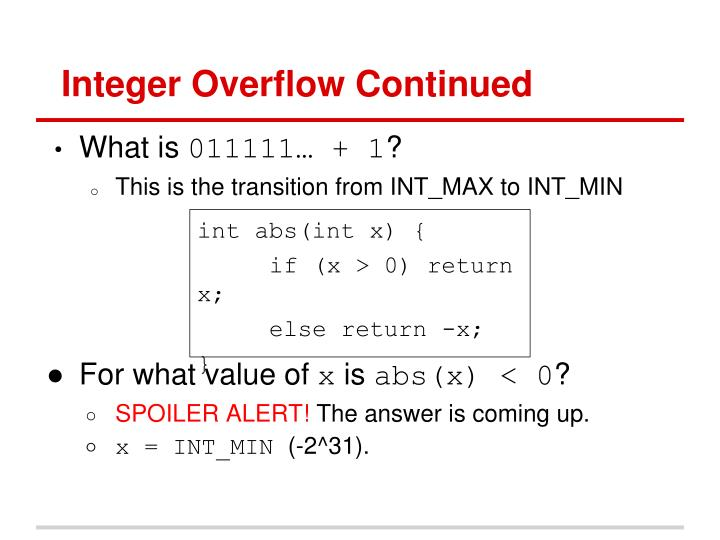 Integer Overflow Continued