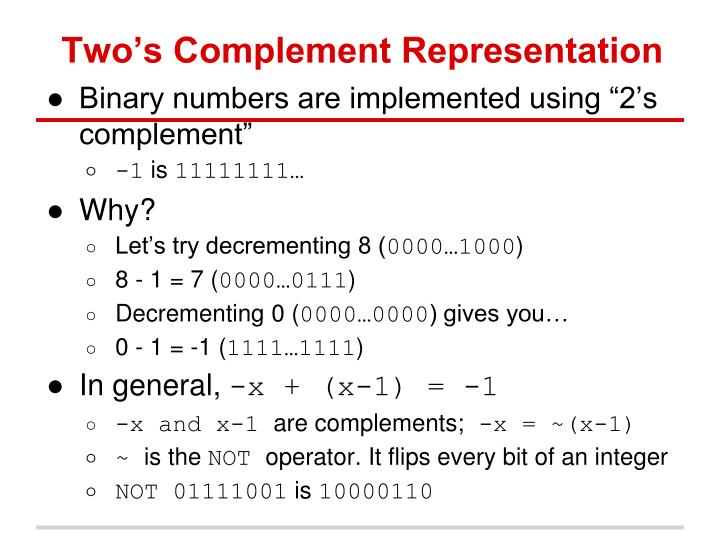Two s complement representation