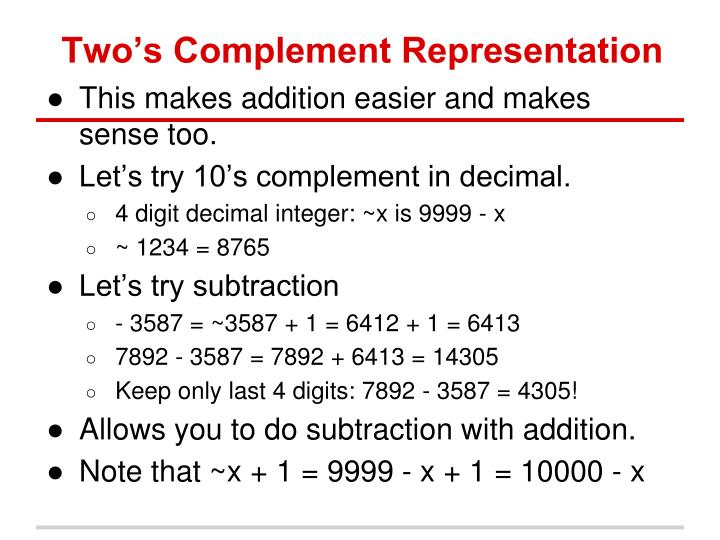 Two's Complement Representation