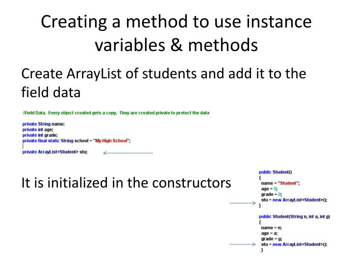 Creating a method to use instance variables & methods