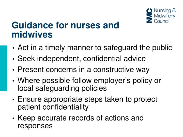 Guidance for nurses and midwives