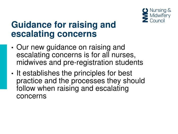 Guidance for raising and escalating concerns
