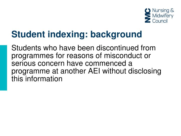 Student indexing: background