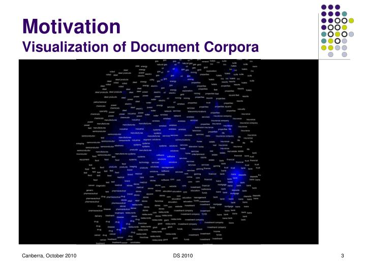 Motivation visualization of document corpora