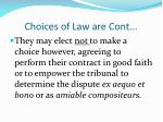 choices of law are cont