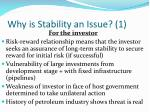 why is stability an issue 1