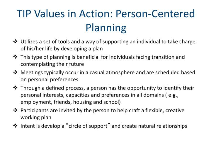 TIP Values in Action: Person-Centered Planning