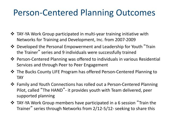 Person-Centered Planning Outcomes