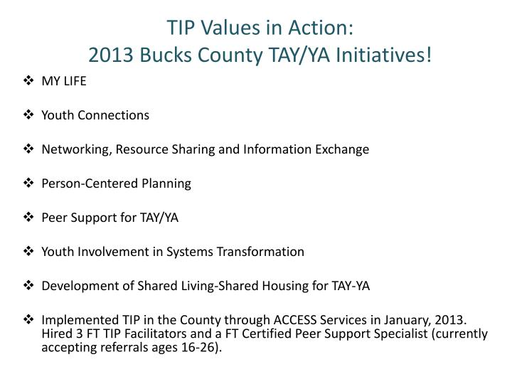 TIP Values in Action: