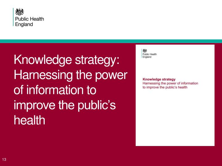 Knowledge strategy: Harnessing the power of information to improve the public's health