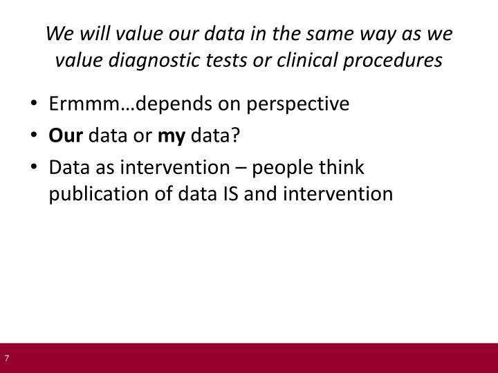 We will value our data in the same way as we value diagnostic tests or clinical procedures
