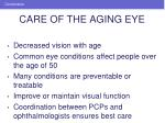 care of the aging eye