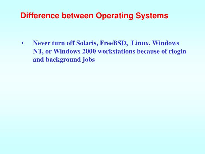 Difference between Operating Systems