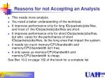 reasons for not accepting an analysis