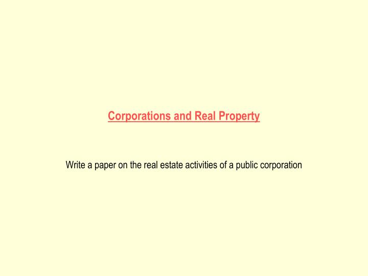 corporations and real property n.