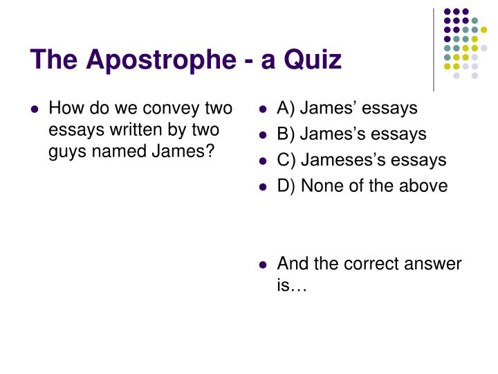 How do we convey two essays written by two guys named James?