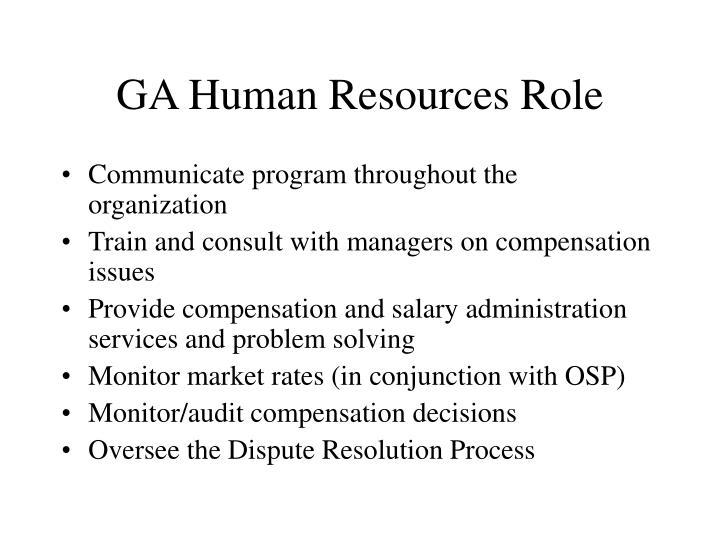 GA Human Resources Role