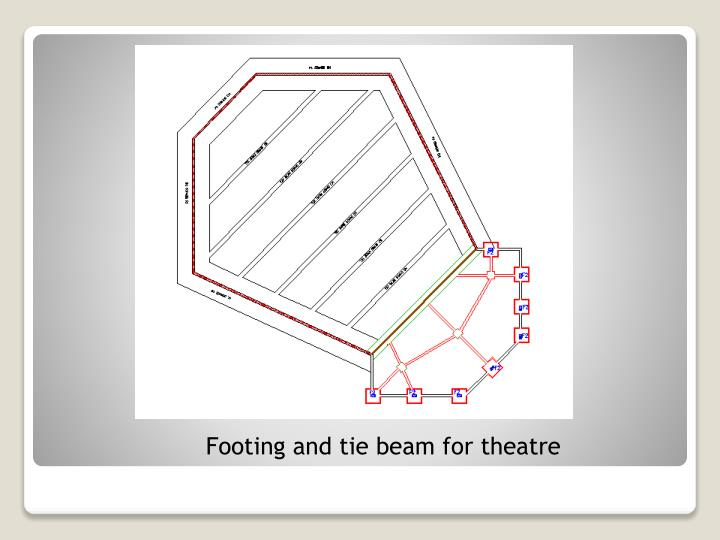 Footing and tie beam for theatre