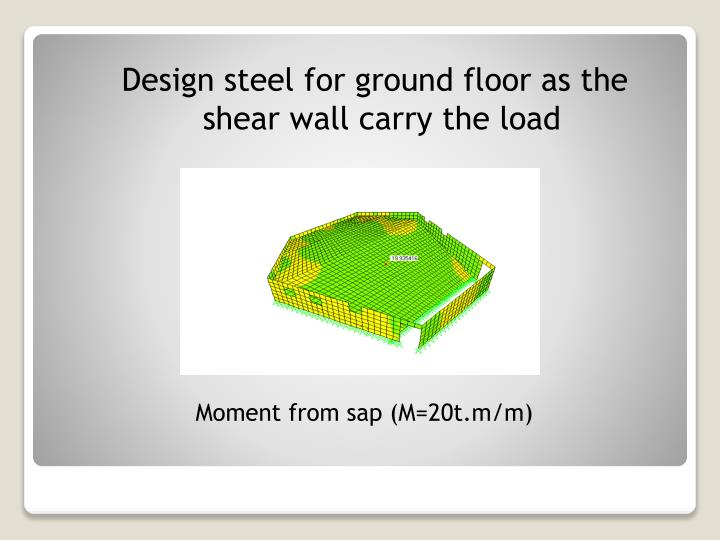 Design steel for ground floor as the shear wall carry the load