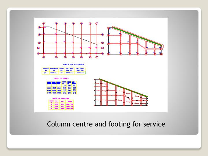 Column centre and footing for service