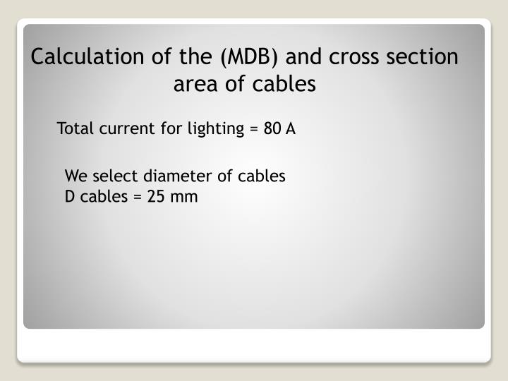 Calculation of the (MDB) and cross section area of cables