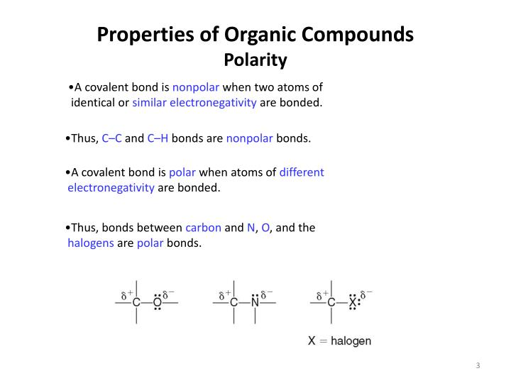 Properties of organic compounds polarity