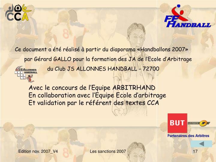 Ce document a été réalisé à partir du diaporama «Handballons 2007»