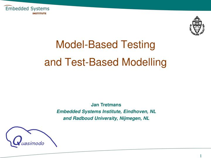 model based testing and test based modelling n.