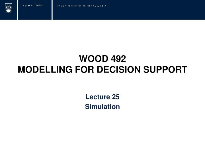 wood 492 modelling for decision support n.