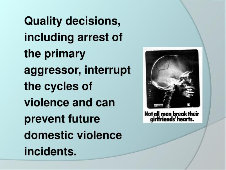 Quality decisions, including arrest of the primary aggressor, interrupt the cycles of violence and can prevent future domestic violence incidents.