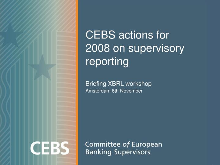 cebs actions for 2008 on supervisory reporting n.