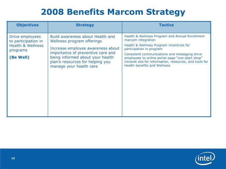 2008 Benefits Marcom Strategy