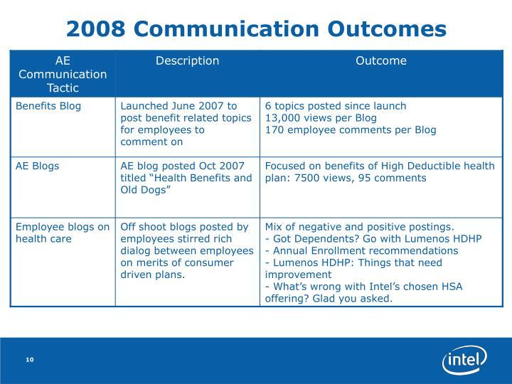 2008 Communication Outcomes