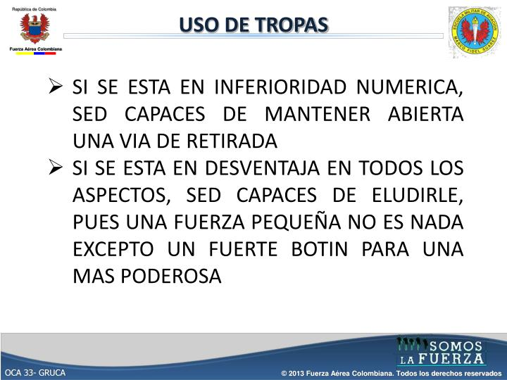 USO DE TROPAS