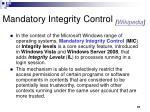 mandatory integrity control wikipedia