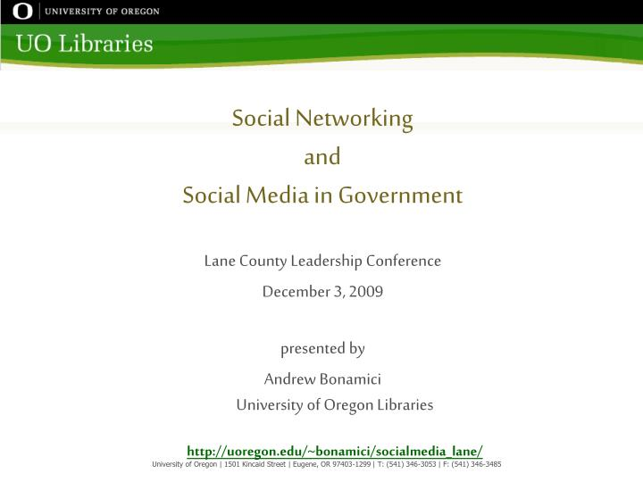 social networking and social media in government n.