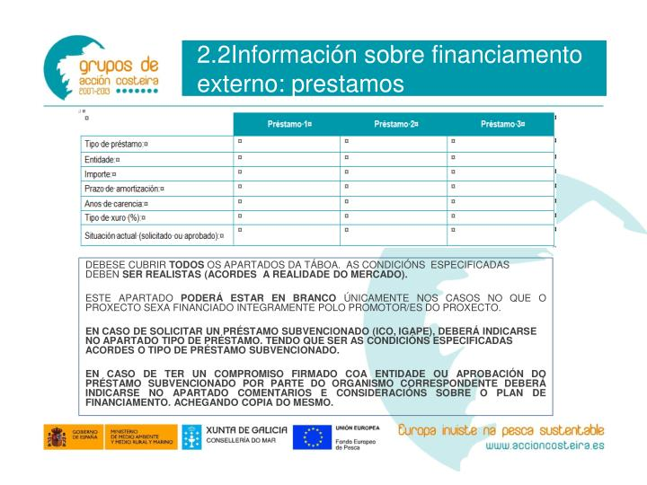 2.2Información sobre financiamento externo: prestamos