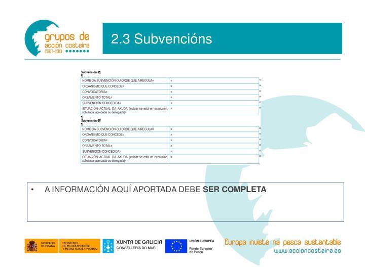 2.3 Subvencións