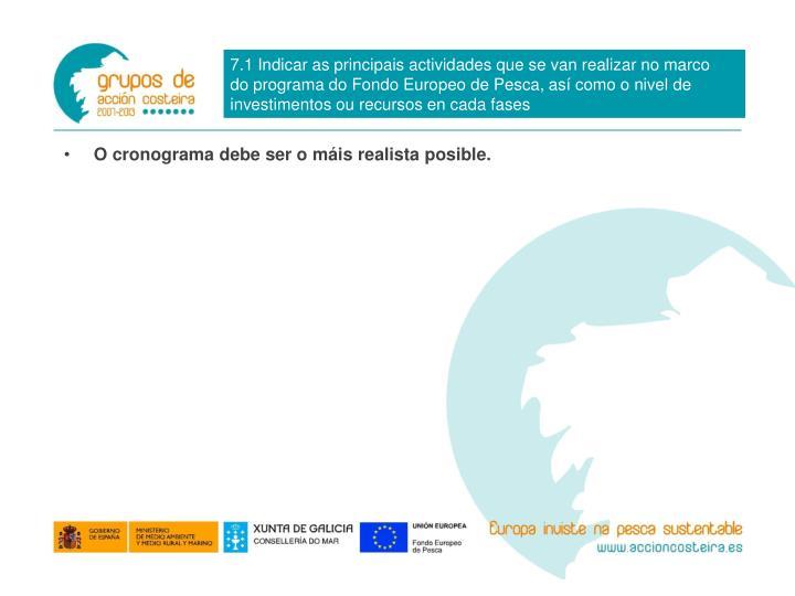 7.1 Indicar as principais actividades que se van realizar no marco do programa do Fondo Europeo de Pesca, así como o nivel de investimentos ou recursos en cada fases
