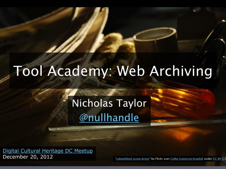 Tool academy web archiving