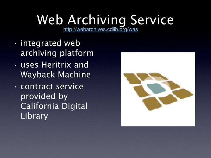 Web Archiving Service