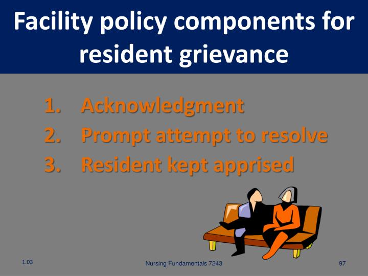 Facility policy components for resident grievance