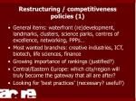 restructuring competitiveness policies 1